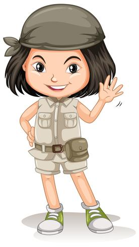 A Young Safari Girl on White Background - Download Free Vector Art, Stock Graphics & Images