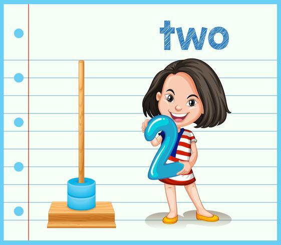 Ein Mädchen, das Nummer zwei hält
