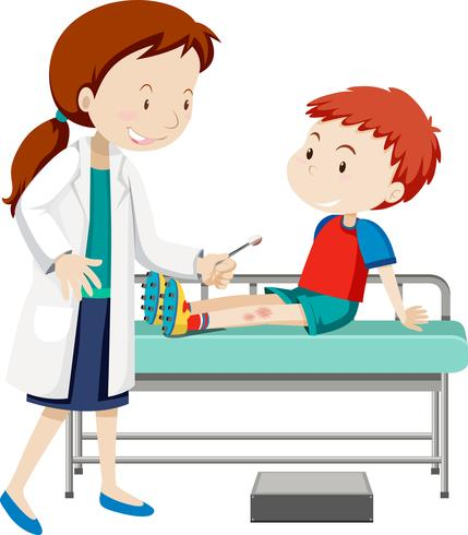 Doctor helping young boy with sore leg vector