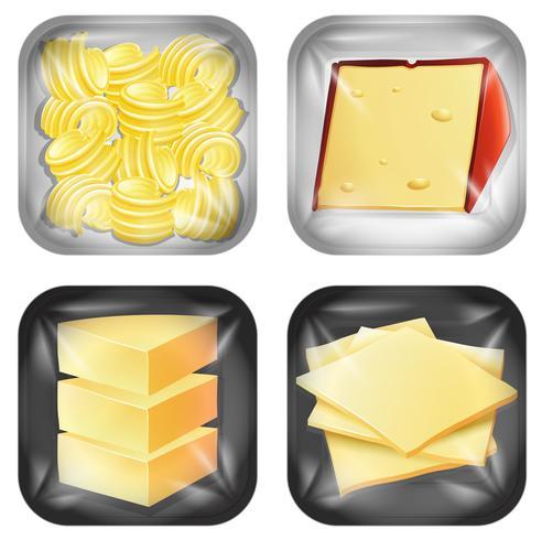 Satz verschiedene verpackte Lebensmittel der Milchprodukte