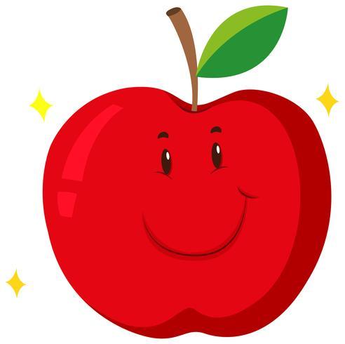 Pomme rouge avec visage heureux