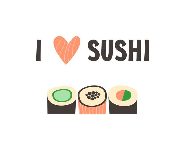 Sushi. Ejemplo japonés del vector del rollo de sushi de la comida