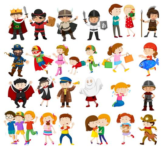 Barn i olika outfits