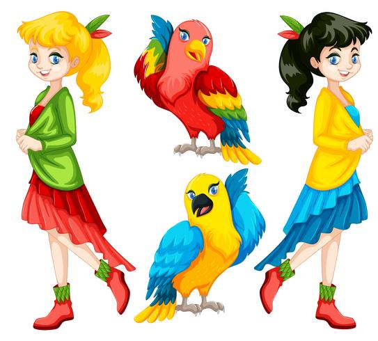 Persone e uccelli colorati