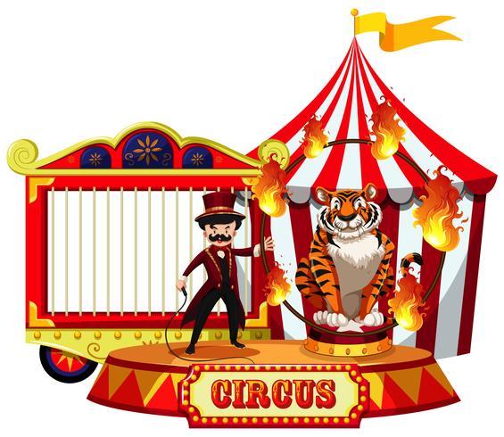 Una mostra del circo su fondo bianco