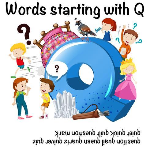 Cartaz de educação para palavras que começam com Q