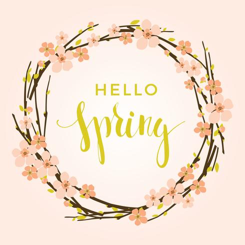 Vector spring background with flowering branches.