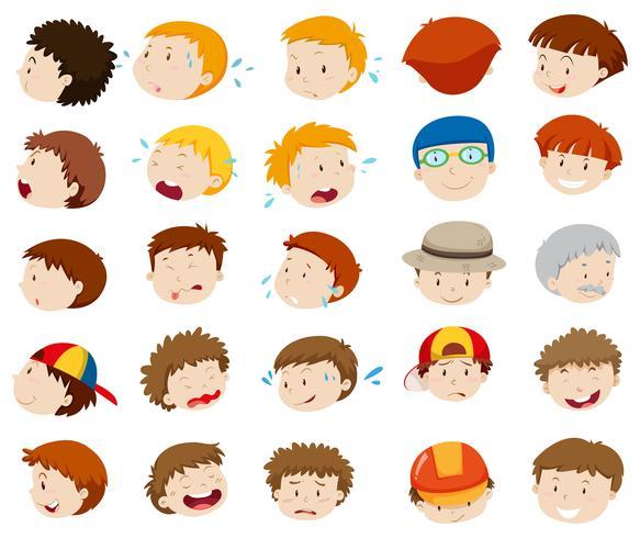 Rostros masculinos con diferentes emociones.