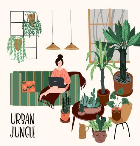 Großstadt-Dschungel. Vektorabbildung mit Houseplants.
