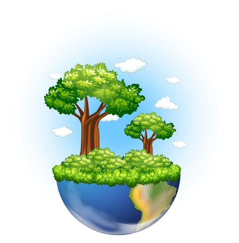 Green trees growing on earth