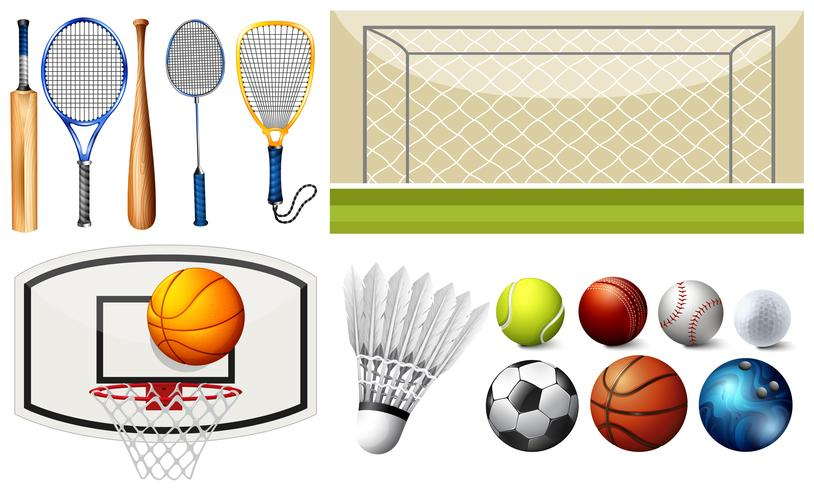 Equipamientos deportivos y diferentes objetivos. vector