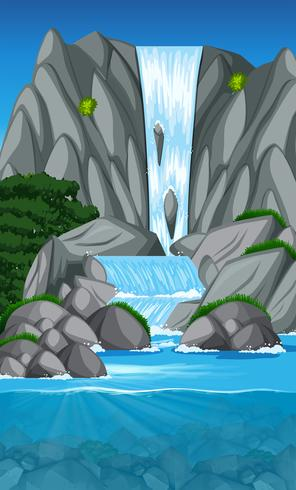 Beautiful waterfall landscape scene - Download Free Vector Art, Stock Graphics & Images