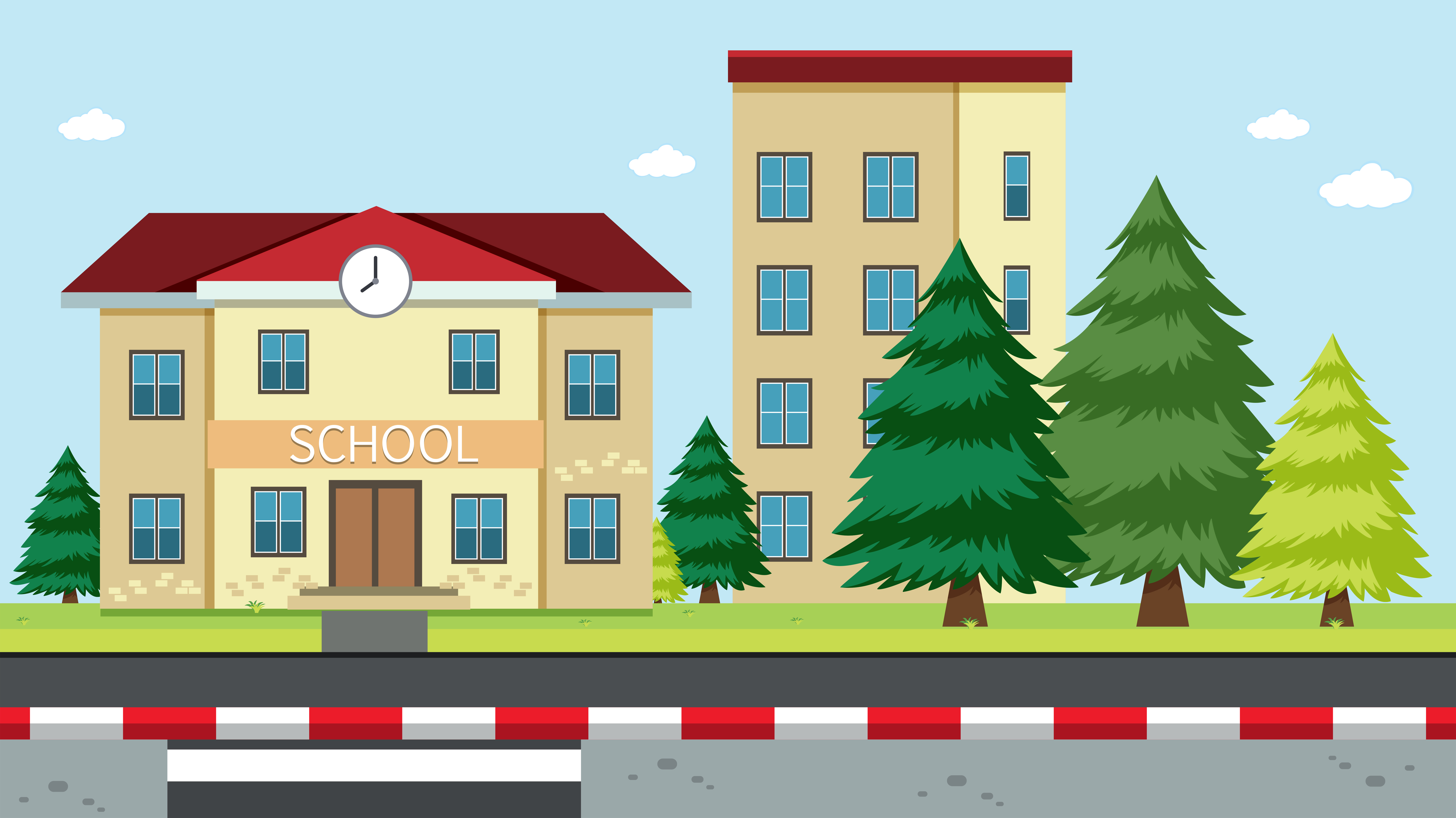 A School Building Scene - Download Free Vectors, Clipart ...