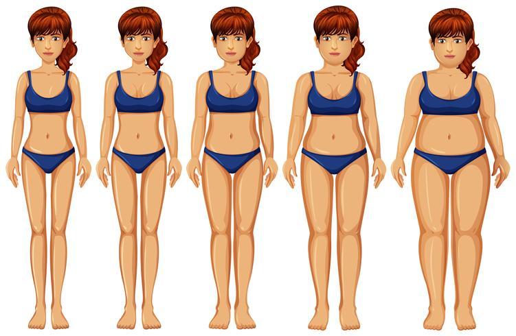Transformación del cuerpo de la mujer en el fondo blanco