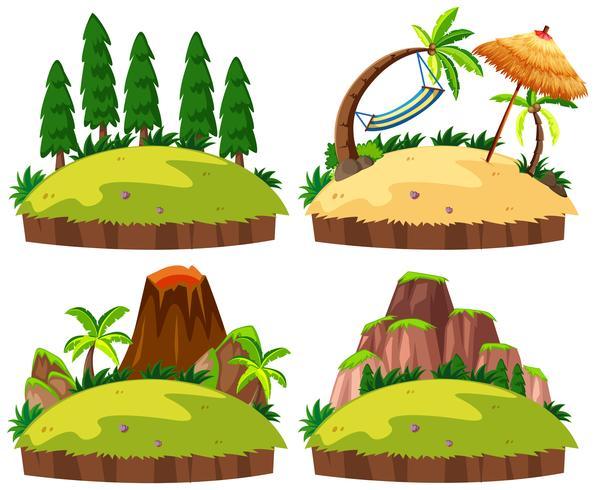 Set van eilanden witte achtergrond