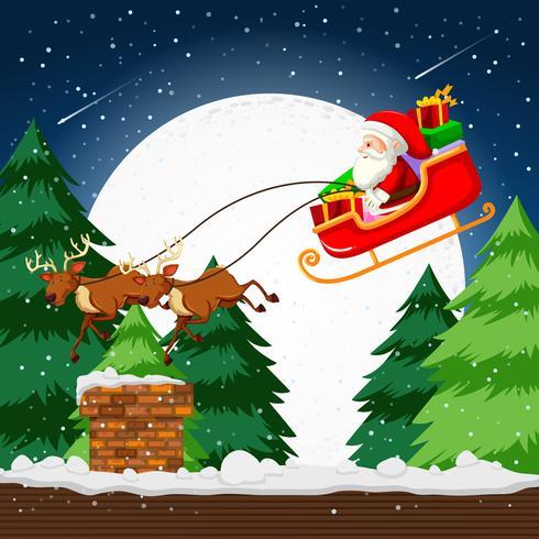 Papai Noel voando em um trenó