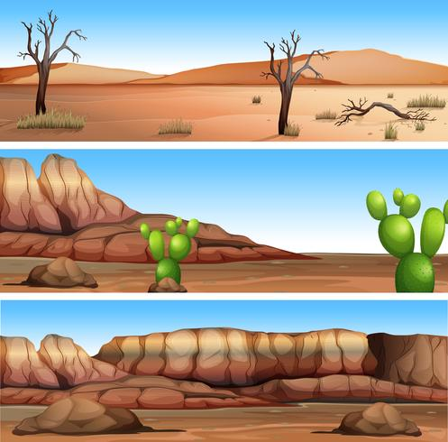 Three Different Dry Valley Scene - Download Free Vector Art, Stock Graphics & Images