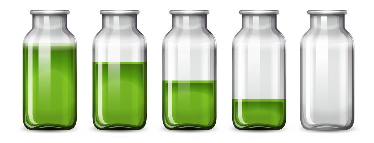Set di liquido verde in bottiglia