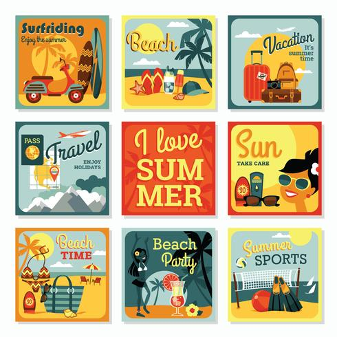 Moderne flache Designkarten des Vektors von Sommerferien.