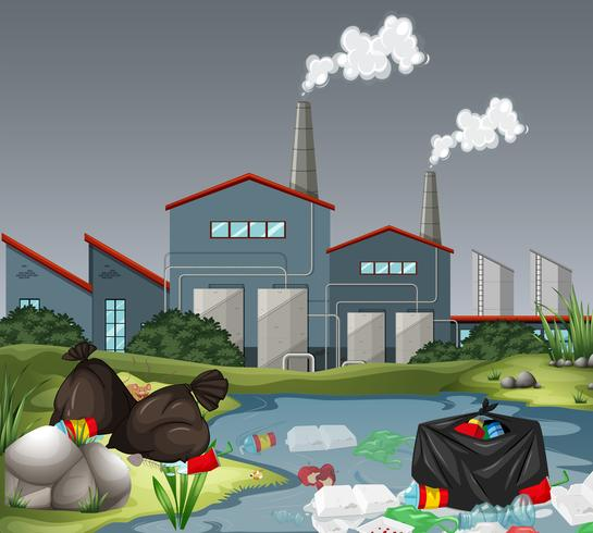 Scene with factory and water pollution