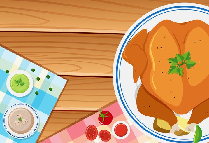 Roasted chicken on wooden board vector