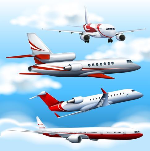 Flugzeug in vier verschiedenen Winkeln