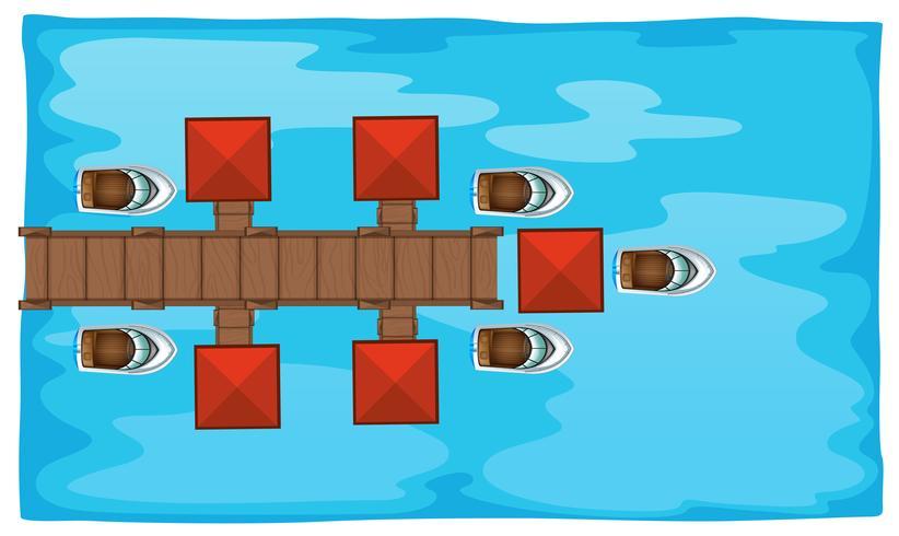 Luftszene mit Brücke und Booten