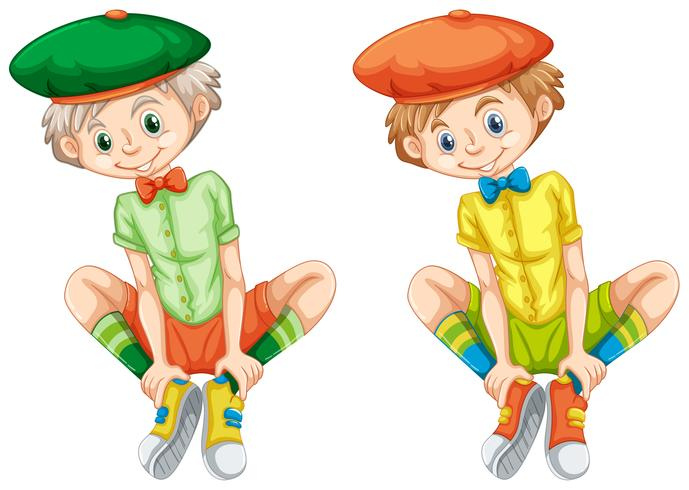 Jungen in verschiedenen Farbhemden