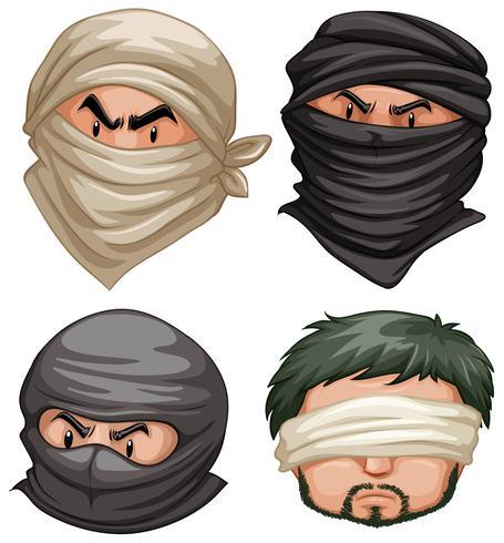 Terroristes et victimes sur fond blanc