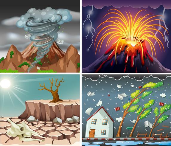 Diferentes escenas con desastres. vector