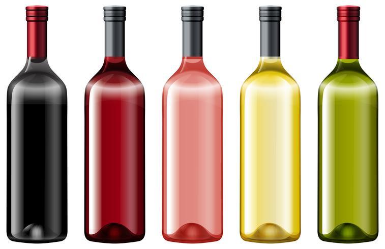 Diiferentfärger av glasflaskor