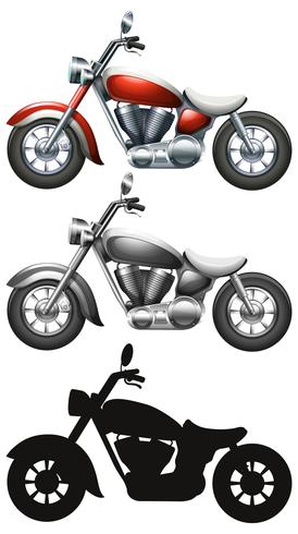 Ensemble de moto sur fond blanc