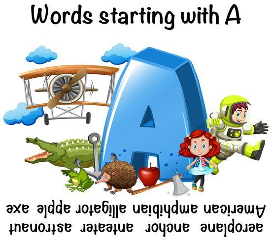 Arbeitsblattentwurf für Wörter, die mit A beginnen
