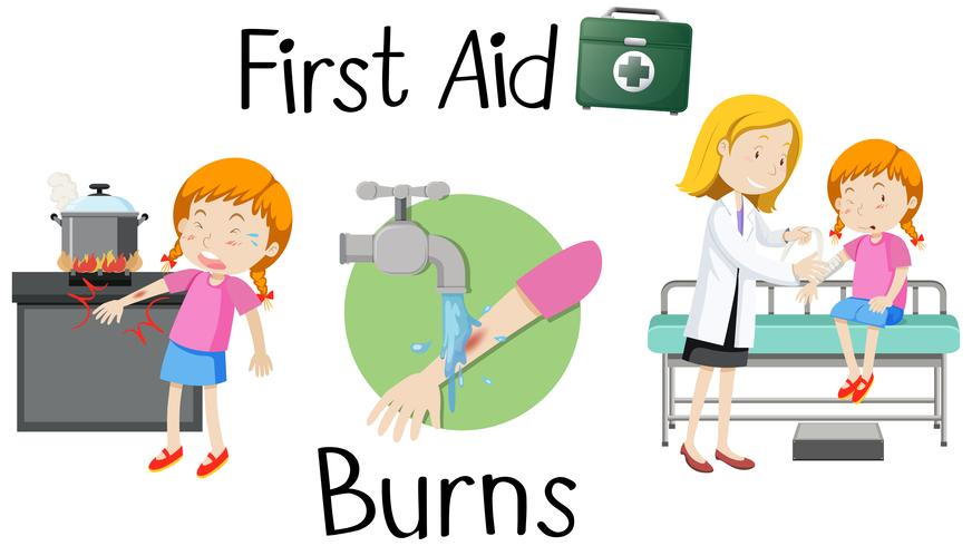 A girl with burn arm first aid