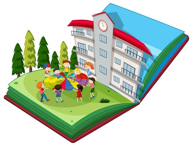 Pop up libro de estudiantes jugando en el patio de recreo