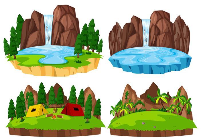 Conjunto de paisaje de naturaleza aislada