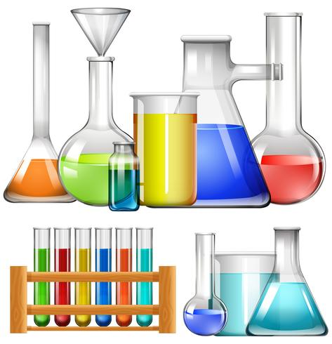 Glazen bekers en reageerbuisjes