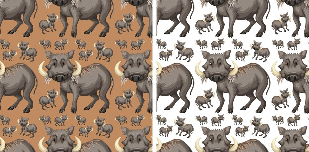 Seamless background template with warthogs