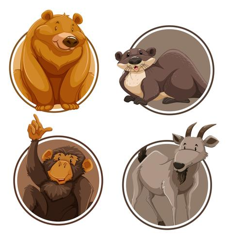 Set av vilddjur på klistermall