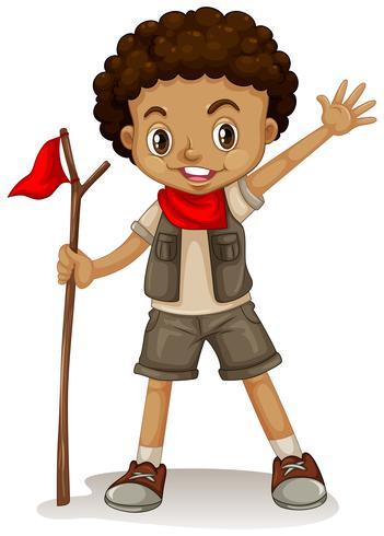 Un giovane boy scout vettore