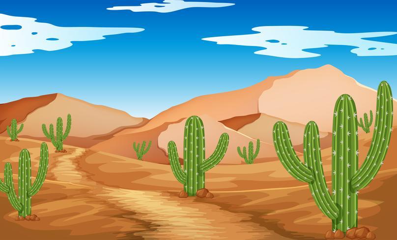 Wüstenszene mit Bergen und Kaktus
