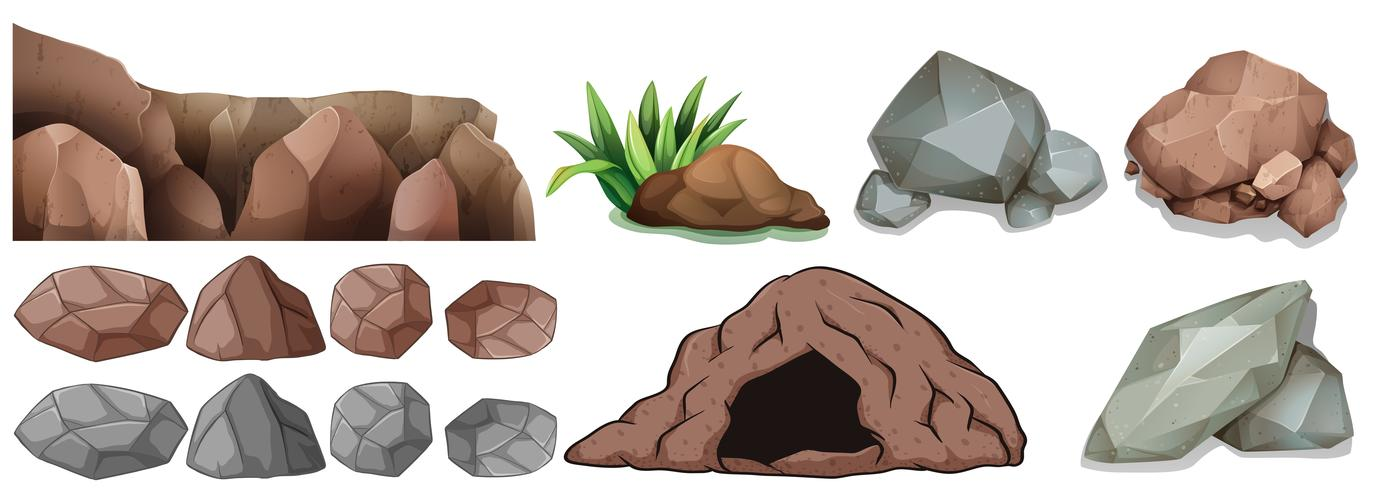 Cave and different shapes of rocks vector