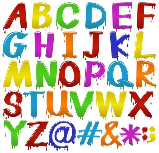 Regenboog gekleurde letters van het alfabet