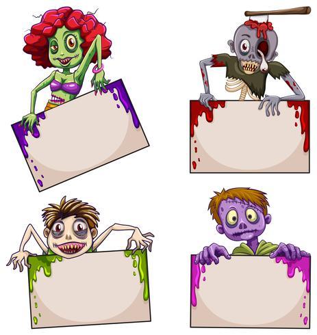 Zombies avec des panneaux vides
