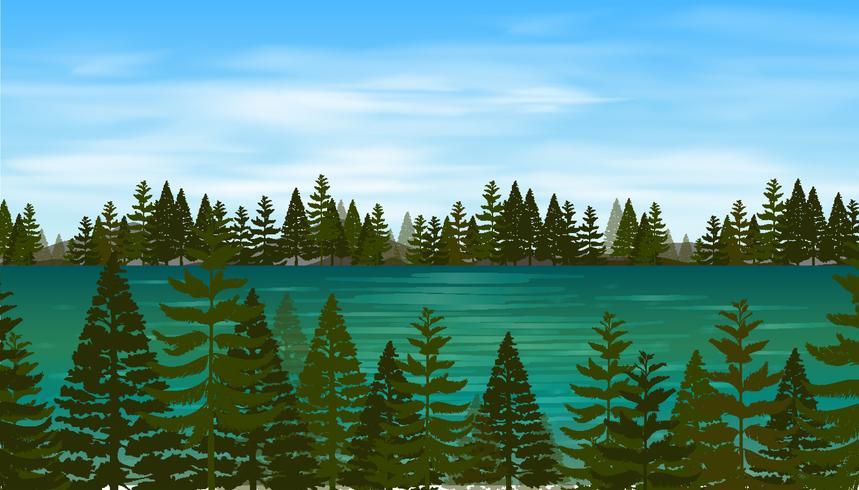 Scena di sfondo con pineta in riva al lago