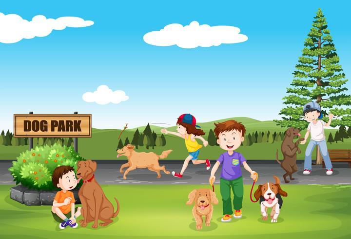 Personnes au parc de chien