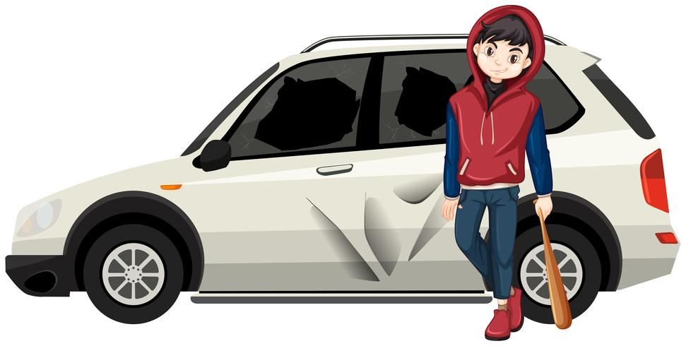 Bad jeune adolescent a cassé la voiture