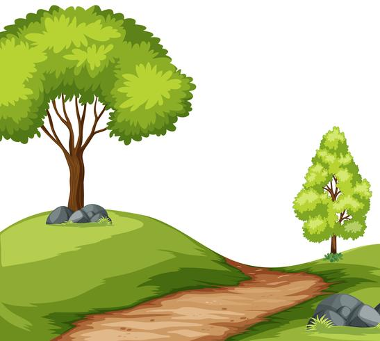 Weg in boslandschap