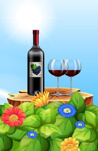 Un vino tinto en la naturaleza