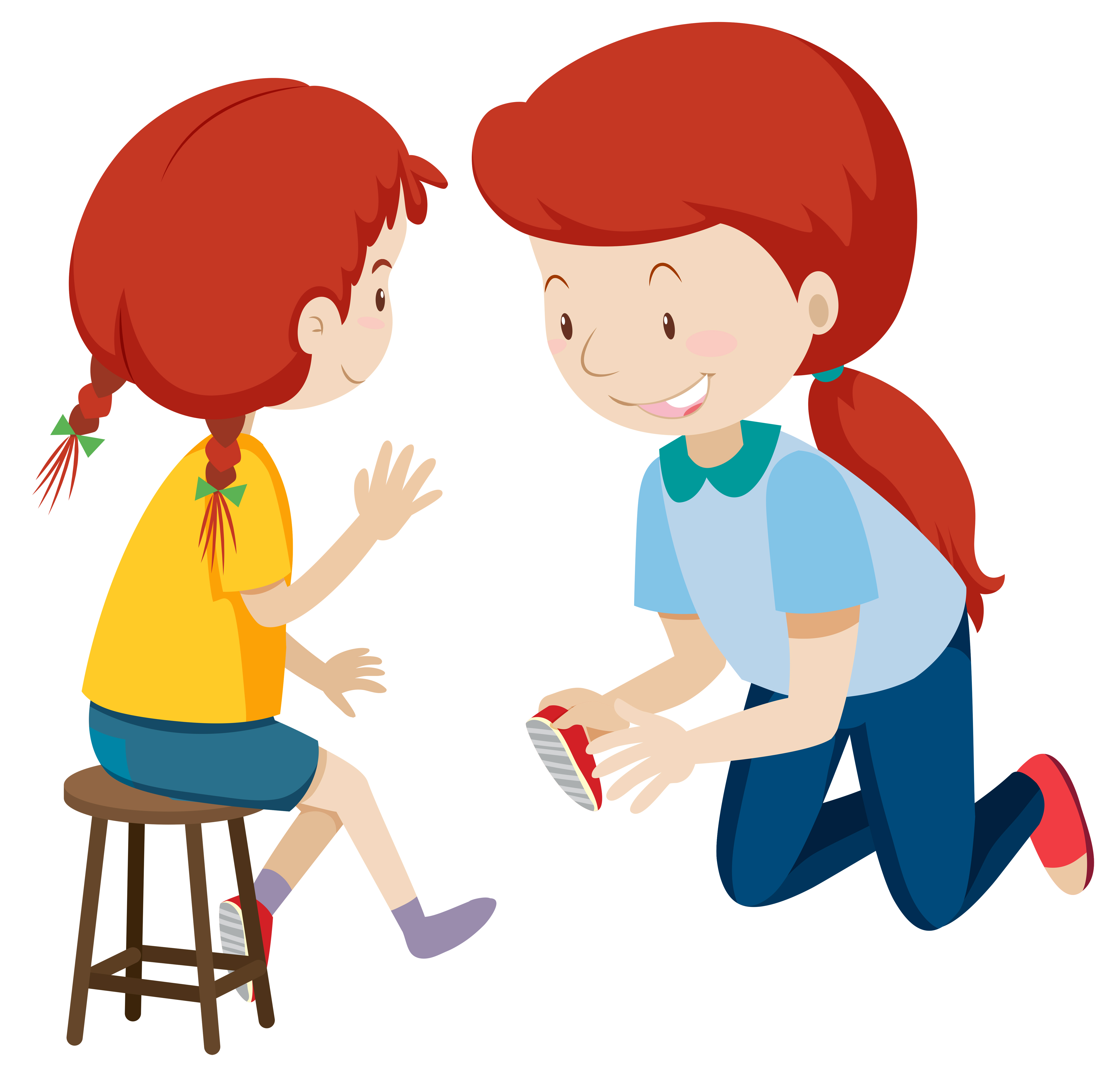 Mother helping child put on shoes - Download Free Vectors ...